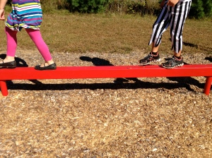 Walking the plank to find the next clue on our treasure hunt.